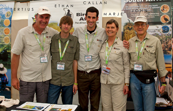 Tertius, Ethan, Callan, Marje and Jon at the British Birdwatching Fair